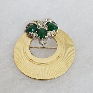 Vtg Boucher Gold Tone Rhinestone Brooch Pin Green
